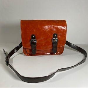 🎊HP🥳Shiraleah Orange/Brown Leather Messenger Bag